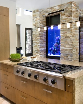 An aquarium brings an unexpected touch to the kitchen
