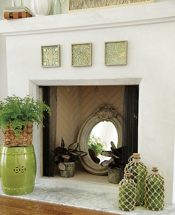 creative ways to decorate your fireplace in the off season