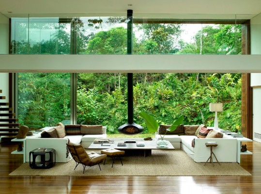 A green view from a glass house
