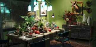 A whimsical dining room