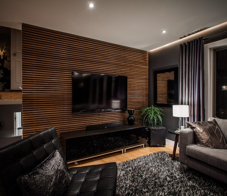 Contemporary wood panel as room divider