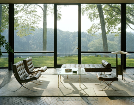 A glass house with a light-filled peaceful view