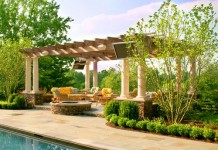 Pergola enhances this poolside space