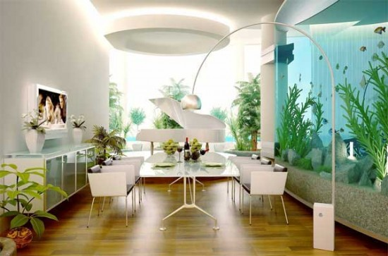 An expansive home aquarium adds an element of natural beauty