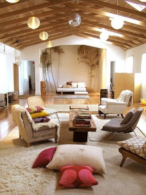 Wood beams accent this church to home conversion