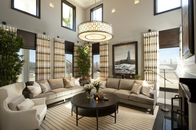 Larger furnishings work in this room due to its size and high ceilings