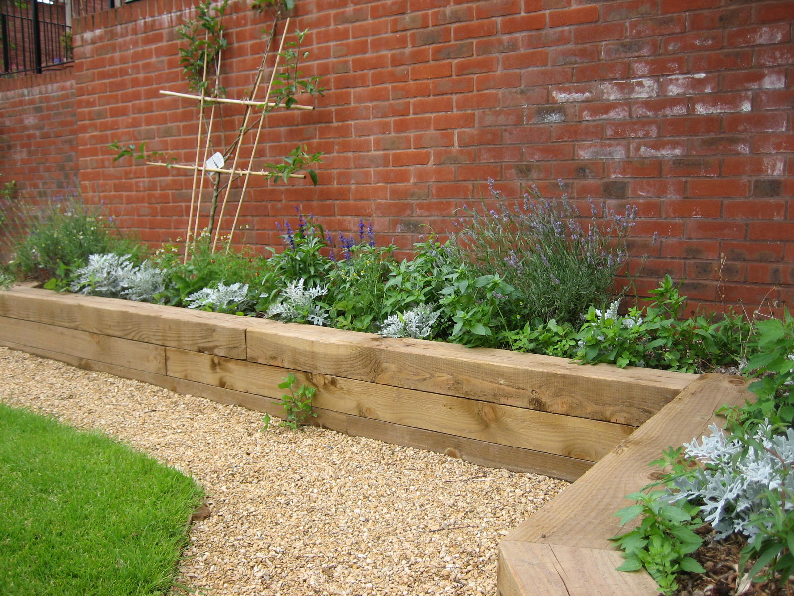 Raised beds for easy low maintenance backyard gardens for Garden decking borders