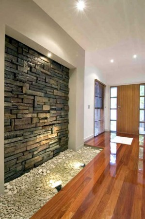 A stone feature wall in the entry adds interest