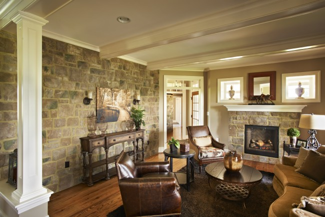 A traditional light stone accents this room