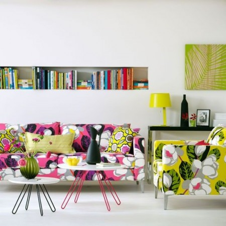 Bright floral upholstery blooms to life in this room