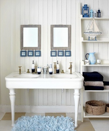Bead board accents this cottage bathroom