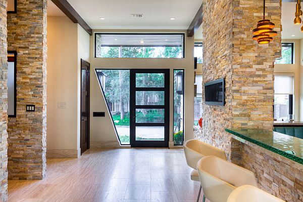 A modern entryway accented with stone