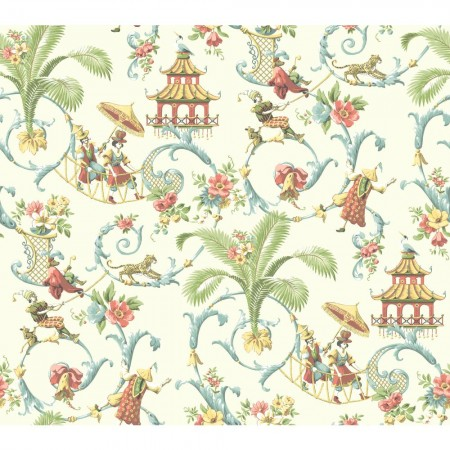 Beautiful pastel Chinese toile fabric