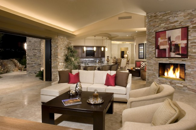 Stone walls accent this home