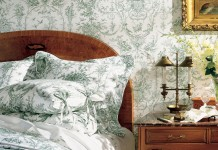 Fresh green toile charms this bedroom