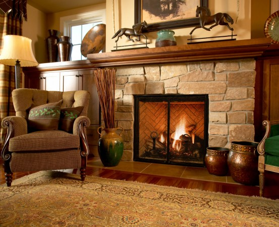 A fireplace surround is the typical spot for stone accents