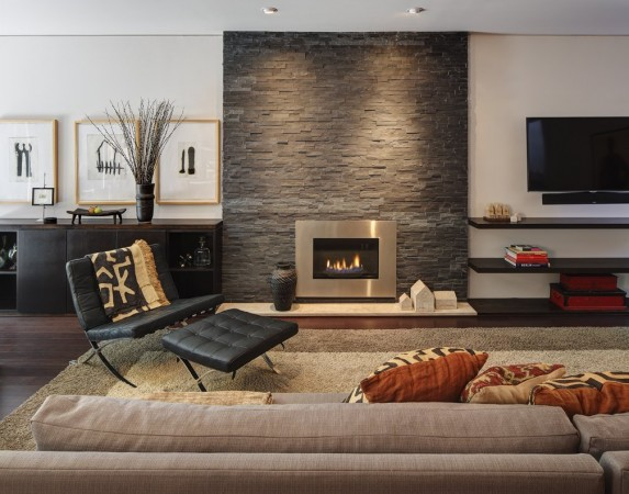 Stone veneer provides edge to this modern room