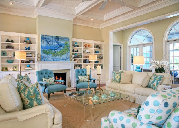 Beautiful blues and greens highlight this coastal home