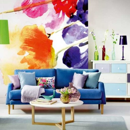 A bold mural kicks life into this room