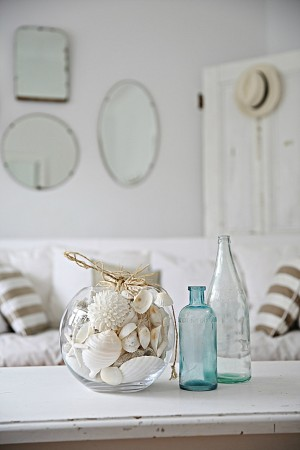 Seashells and glass bottles for accents