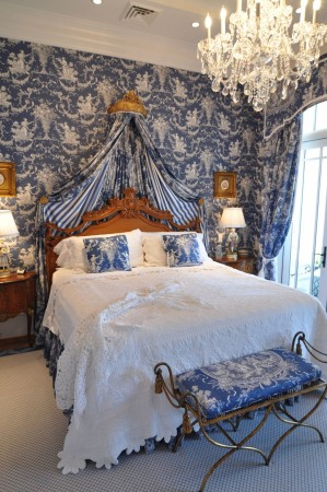 A vibrant toile accents this bedroom designed by Jessy Krol Interiors