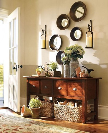 Organize with baskets underneath a console table