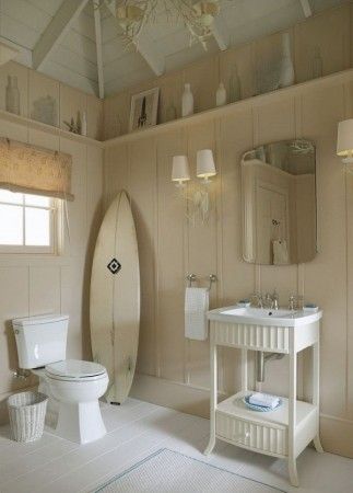 Creamy walls accent this bathroom