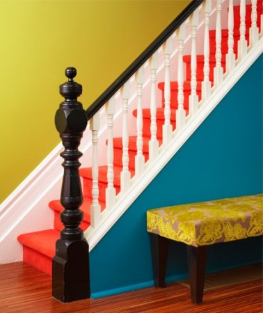 For a bold change, paint the stairs in a bright color