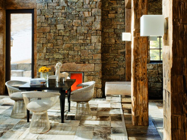 Rough-hewn wood combines well with stone walls