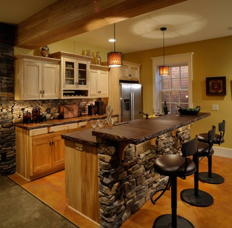 Stone accents on the kitchen island add character