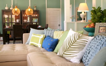 Pillows add style and comfort to a sofa