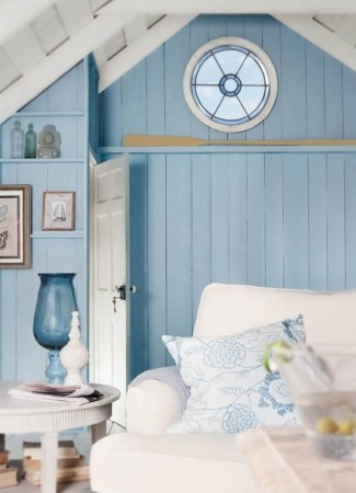 Wood walls painted blue)