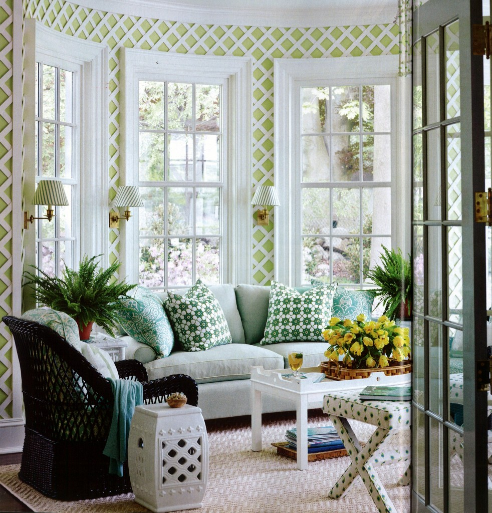 Using latticework indoors for a garden fresh look Florida sunroom ideas