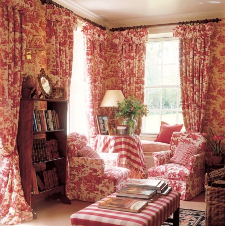 Bright red toile makes a splash in this living room