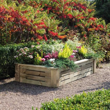 Raised flower bed container