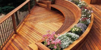 Curved benches and planters add interest to this deck