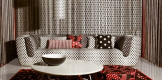 Polka dots lay the foundation for this modern room