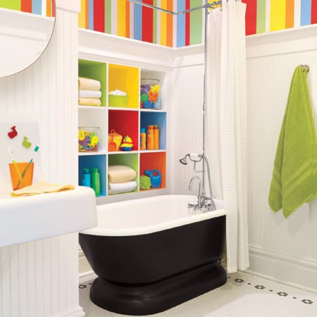 Fun bathroom full of color