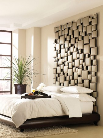 Textured wall panels create a great backdrop for the bed