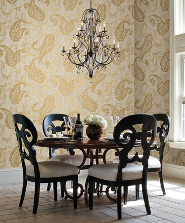 Beautiful paisley wallpaper enhances this dining space