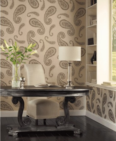 Paisley wallpaper adds distinction to this home office
