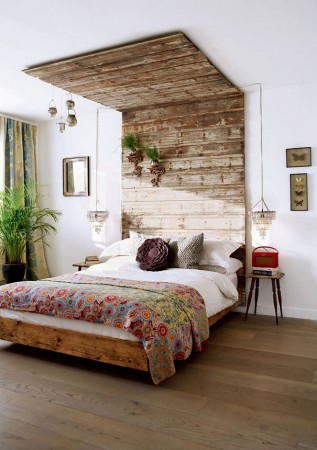 Repurposed wood gets a new home in the bedroom