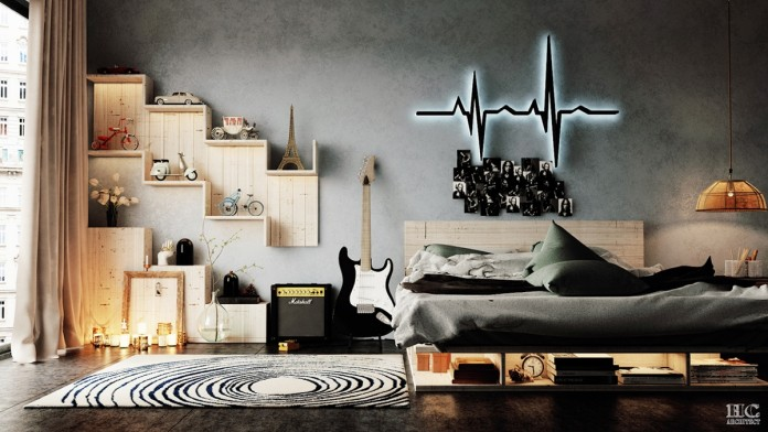 A unique and creative display in the bedroom