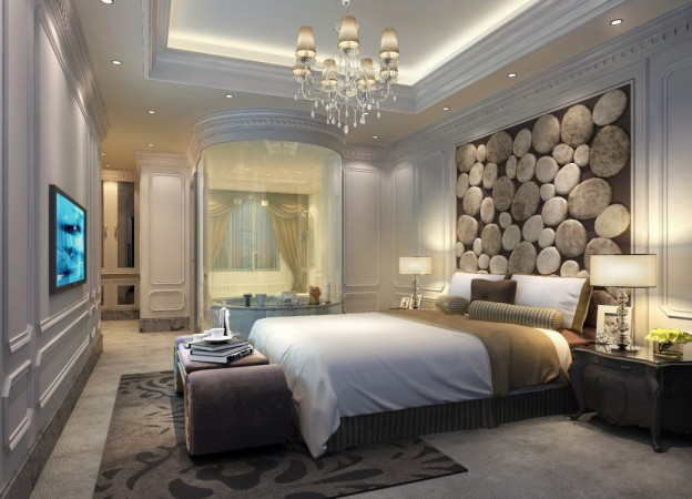 A dimensional wall panel adds character to this bedroom