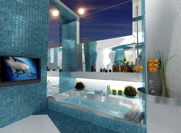Beautiful blues highlight this bathroom