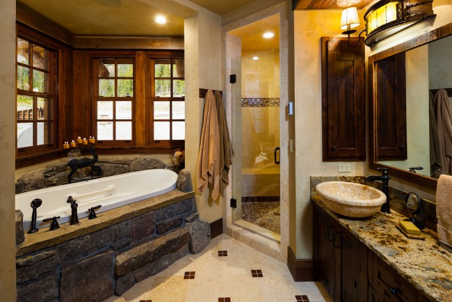 Natural materials accent this bathroom