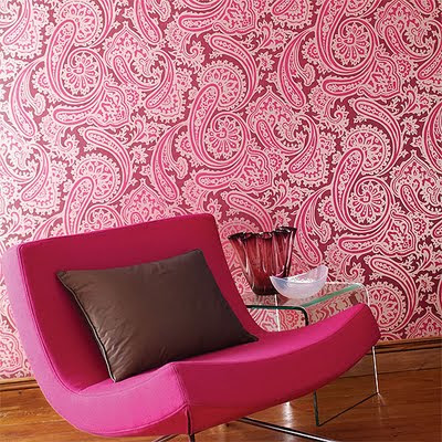 Go for the wow factor with this bright paisley wallpaper