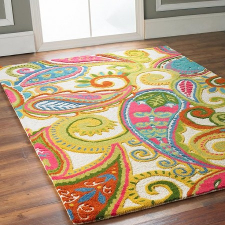 Beautiful colors highlight this paisley rug
