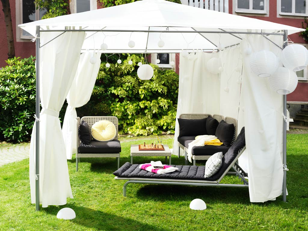 Gazebo curtains outdoor - Curtains Can Make A Temporary Structure More Festive For Parties Or Just Relaxing