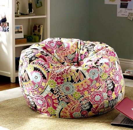 A paisley beanbag chair in modern, vibrant colors